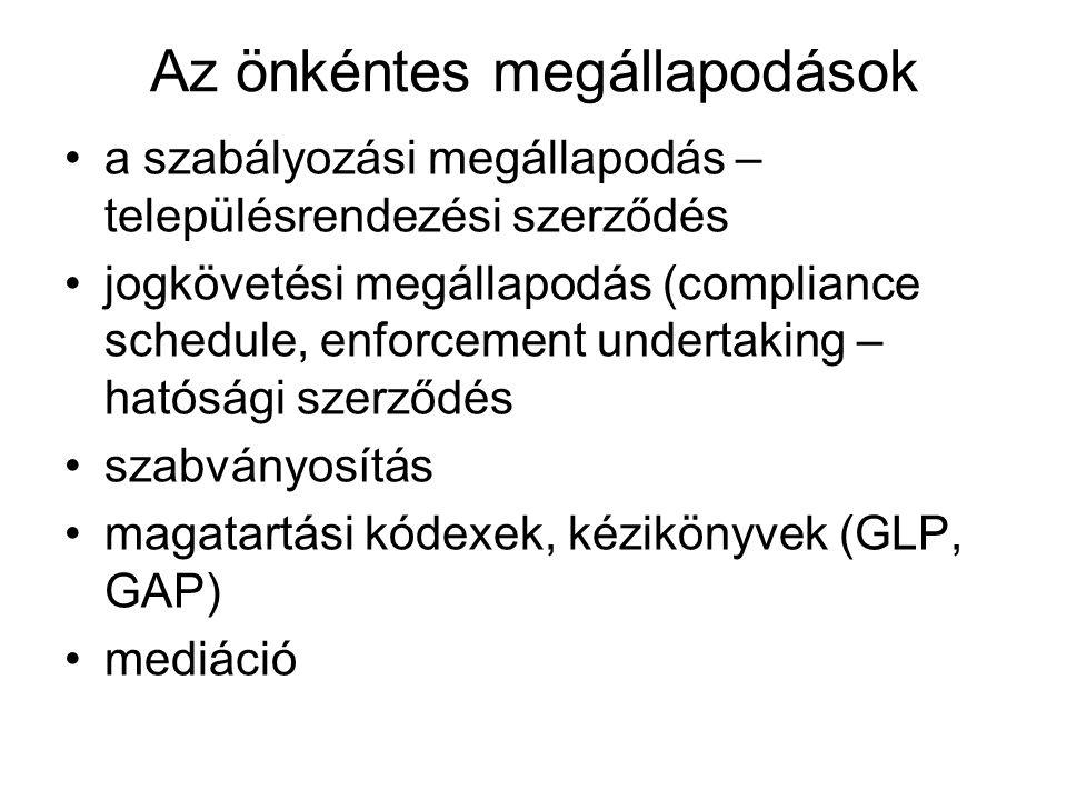 Az önkéntes megállapodások a szabályozási megállapodás – településrendezési szerződés jogkövetési megállapodás (compliance schedule, enforcement undertaking – hatósági szerződés szabványosítás magatartási kódexek, kézikönyvek (GLP, GAP) mediáció