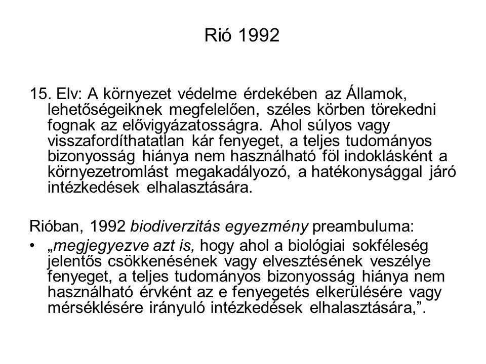 Rió 1992 15. Elv: A környezet védelme érdekében az Államok, lehetőségeiknek megfelelően, széles körben törekedni fognak az elővigyázatosságra. Ahol sú