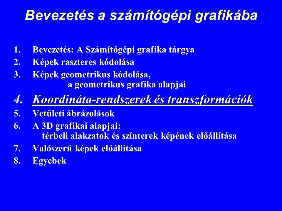 Bevezetés a számítógépi grafikába 1.Bevezetés: A Számítógépi grafika tárgya 2.Képek raszteres kódolása 3.Képek geometrikus kódolása, a geometrikus gra