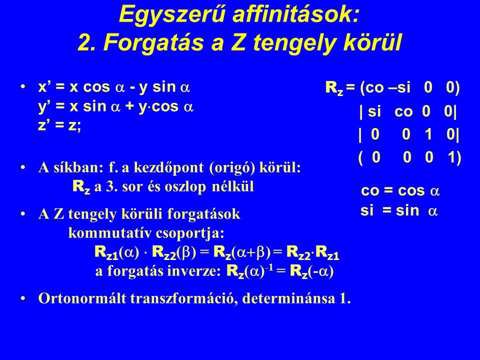 Egyszerű affinitások: 2. Forgatás a Z tengely körül x' = x cos  - y sin  y' = x sin  + y  cos  z' = z; A síkban: f. a kezdőpont (origó) körül: R