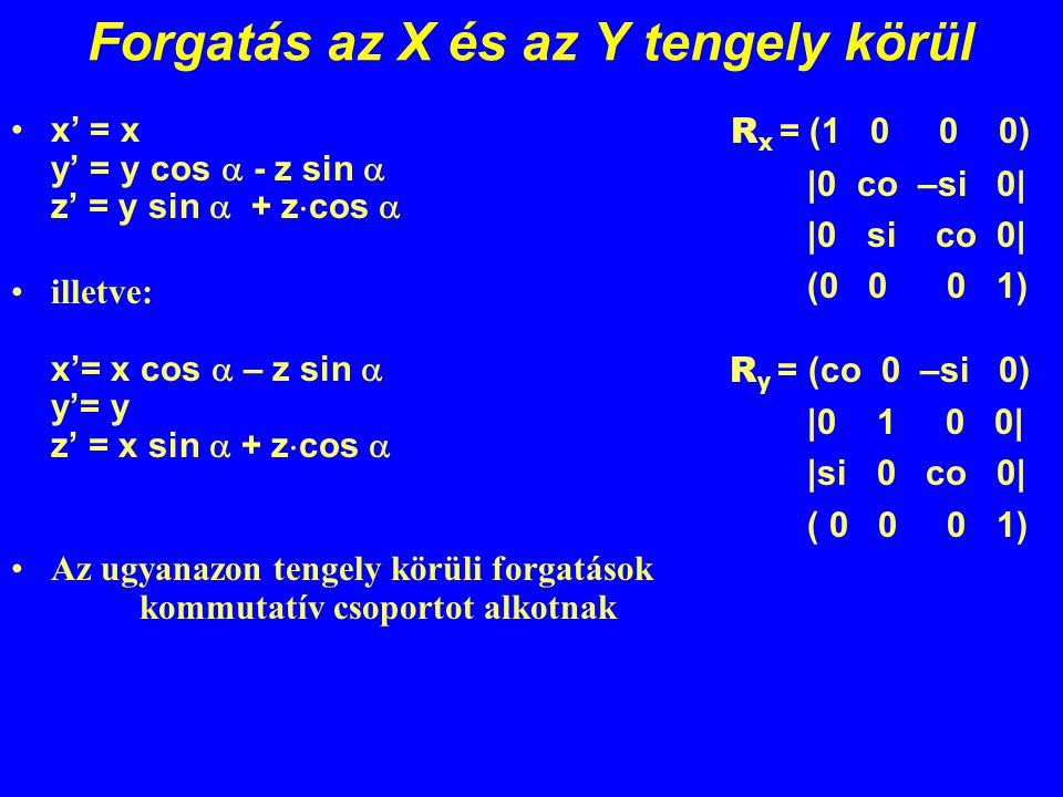 Forgatás az X és az Y tengely körül x' = x y' = y cos  - z sin  z' = y sin  + z  cos  illetve: x'= x cos  – z sin  y'= y z' = x sin  + z  cos