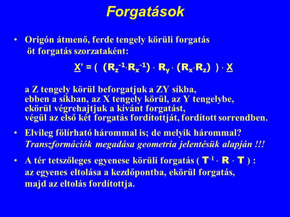 Forgatások Origón átmenő, ferde tengely körüli forgatás öt forgatás szorzataként: X' = ( ( R z -1  R x -1 )  R y  ( R x  R z ) )  X a Z tengely k