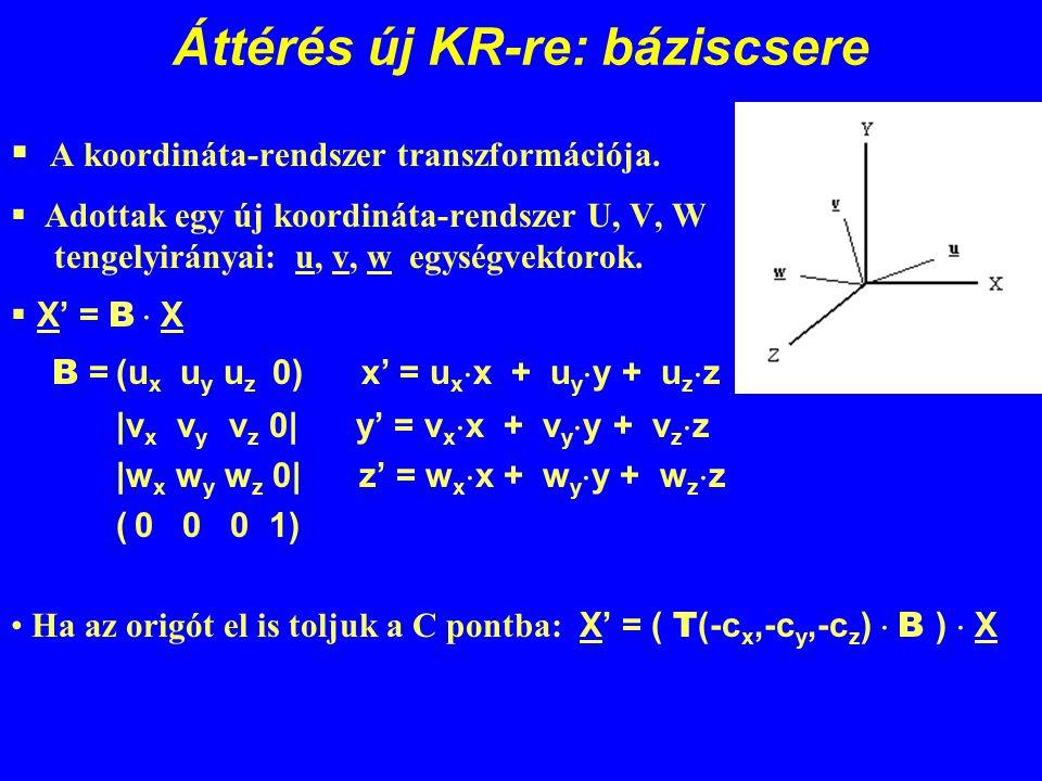 Áttérés új KR-re: báziscsere  A koordináta-rendszer transzformációja.  Adottak egy új koordináta-rendszer U, V, W tengelyirányai: u, v, w egységvekt