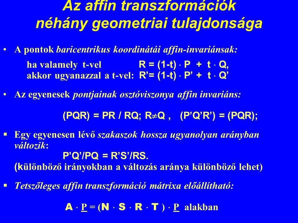 Az affin transzformációk néhány geometriai tulajdonsága A pontok baricentrikus koordinátái affin-invariánsak: ha valamely t-vel R = (1-t)  P + t  Q,