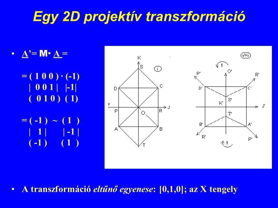 Egy 2D projektív transzformáció A'= M· A = = ( 1 0 0 ) · (-1) | 0 0 1 | |-1| ( 0 1 0 ) ( 1) = ( -1 ) ~ ( 1 ) | 1 | | -1 | ( -1 ) ( 1 ) A transzformáci