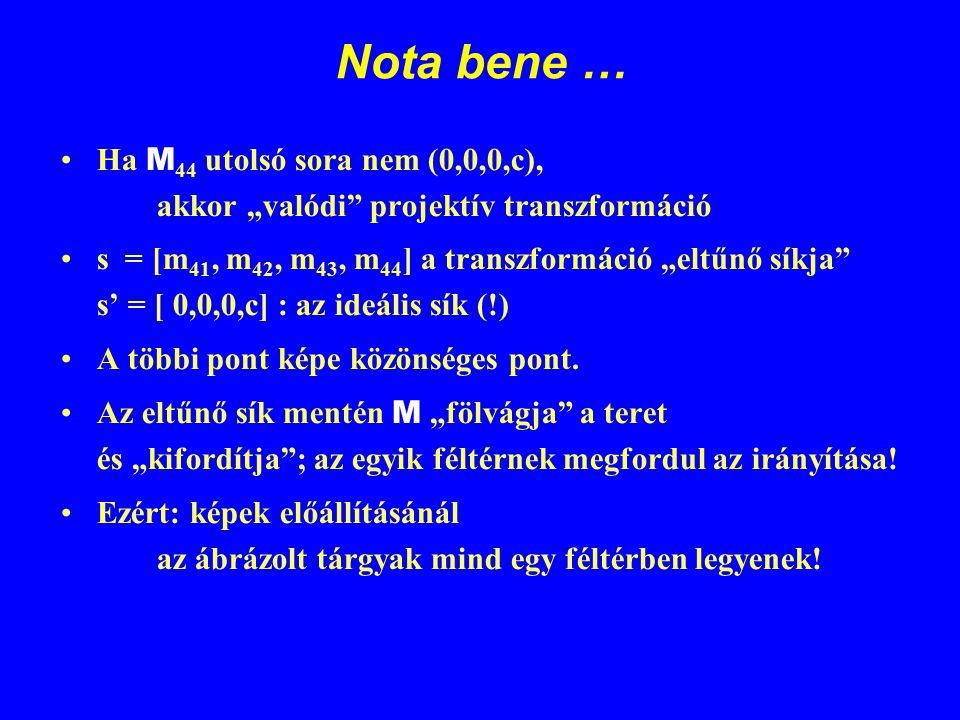"""Nota bene … Ha M 44 utolsó sora nem (0,0,0,c), akkor """"valódi"""" projektív transzformáció s = [m 41, m 42, m 43, m 44 ] a transzformáció """"eltűnő síkja"""" s"""