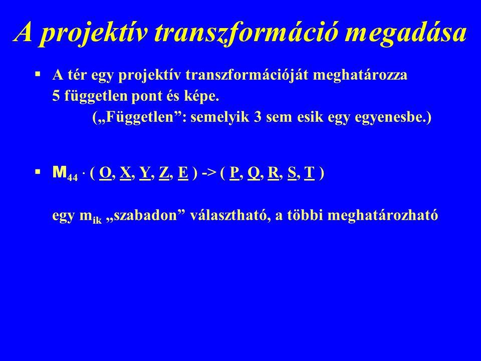 """A projektív transzformáció megadása  A tér egy projektív transzformációját meghatározza 5 független pont és képe. (""""Független"""": semelyik 3 sem esik e"""
