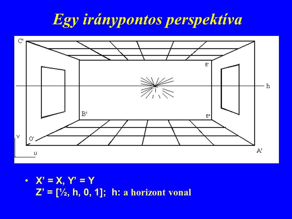 Egy iránypontos perspektíva X' = X, Y' = Y Z' = [½, h, 0, 1]; h: a horizont vonal