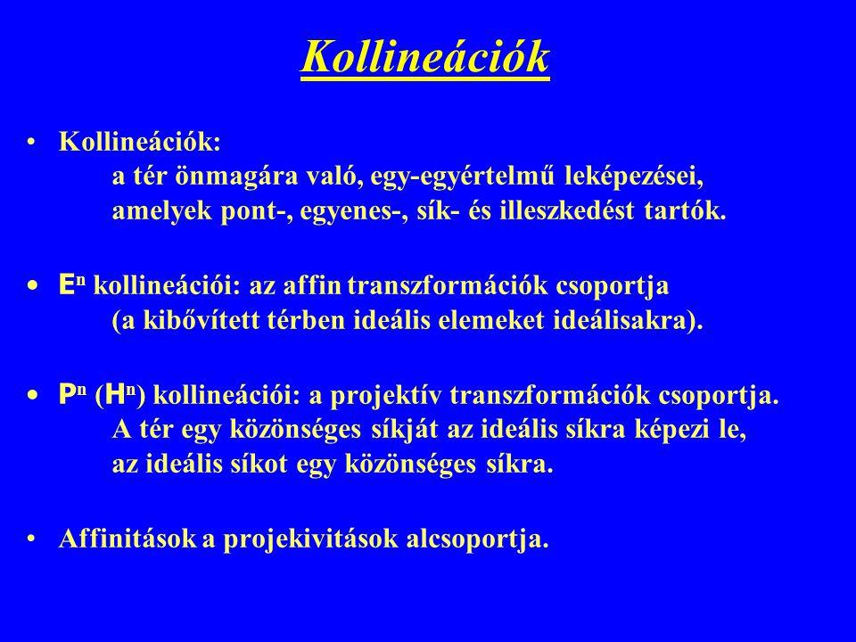 Kollineációk Kollineációk: a tér önmagára való, egy-egyértelmű leképezései, amelyek pont-, egyenes-, sík- és illeszkedést tartók. E n kollineációi: az