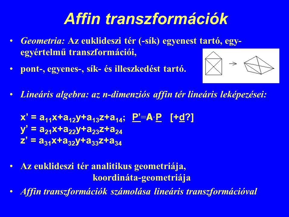 Affin transzformációk Geometria: Az euklideszi tér (-sík) egyenest tartó, egy- egyértelmű transzformációi, pont-, egyenes-, sík- és illeszkedést tartó