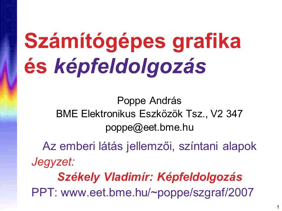 1 Számítógépes grafika és képfeldolgozás Poppe András BME Elektronikus Eszközök Tsz., V2 347 poppe@eet.bme.hu Az emberi látás jellemzői, színtani alapok Jegyzet: Székely Vladimír: Képfeldolgozás PPT: www.eet.bme.hu/~poppe/szgraf/2007