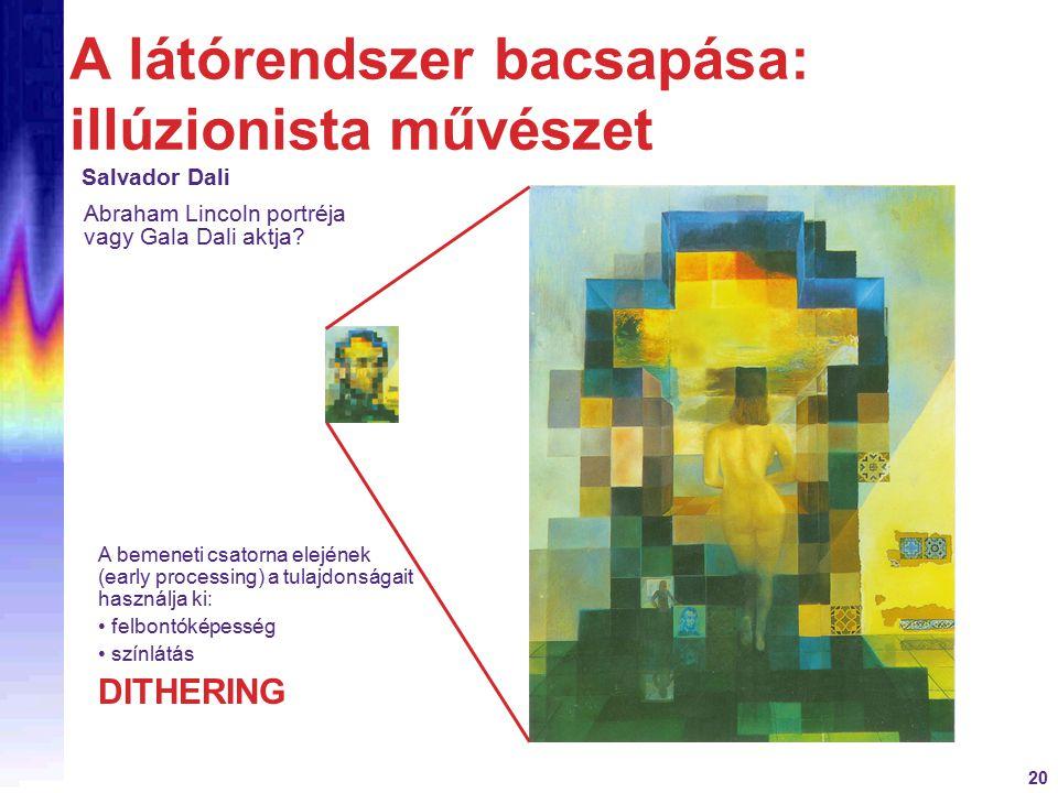 20 A látórendszer bacsapása: illúzionista művészet Salvador Dali A bemeneti csatorna elejének (early processing) a tulajdonságait használja ki: felbontóképesség színlátás DITHERING Abraham Lincoln portréja vagy Gala Dali aktja?