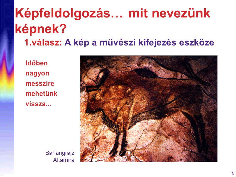 3 Képfeldolgozás… mit nevezünk képnek? 1.válasz: A kép a művészi kifejezés eszköze Időben nagyon messzire mehetünk vissza... Barlangrajz Altamira