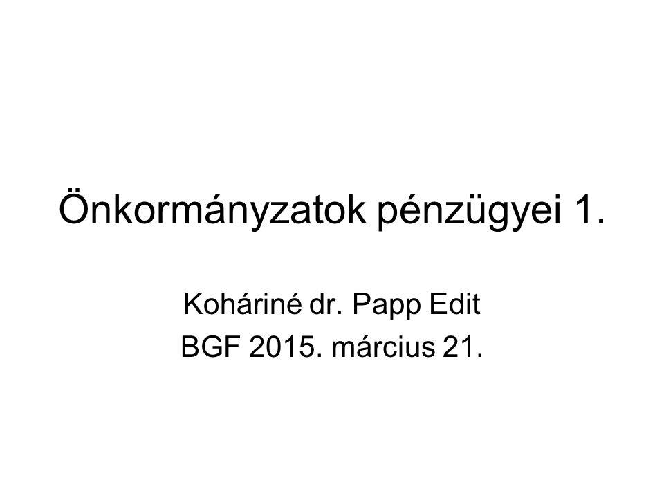 Önkormányzatok pénzügyei 1. Koháriné dr. Papp Edit BGF 2015. március 21.