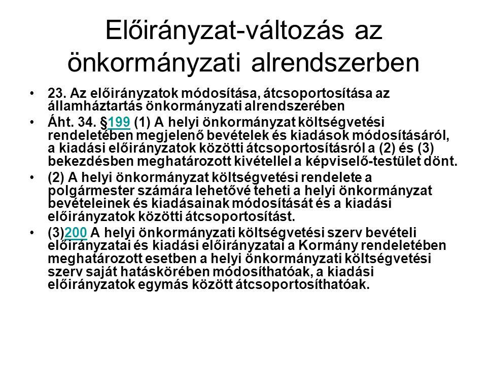 Előirányzat-változás az önkormányzati alrendszerben 23.