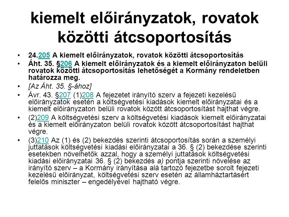 kiemelt előirányzatok, rovatok közötti átcsoportosítás 24.205 A kiemelt előirányzatok, rovatok közötti átcsoportosítás205 Áht.