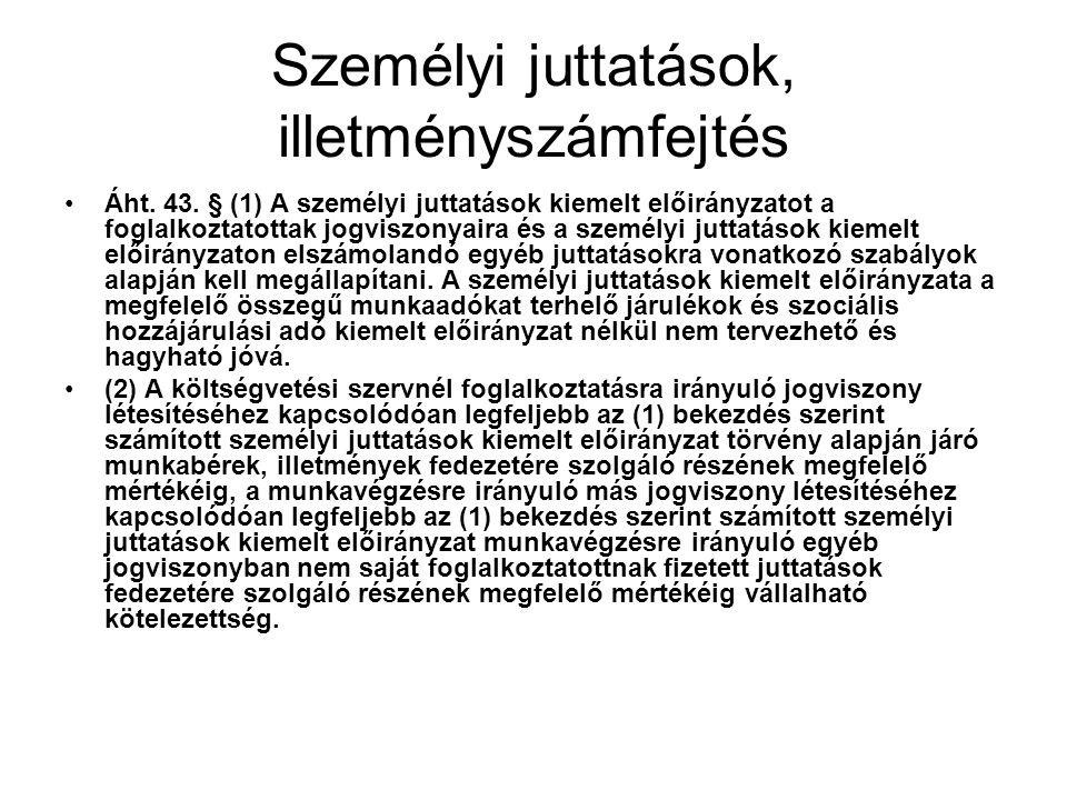 Személyi juttatások, illetményszámfejtés Áht.43.