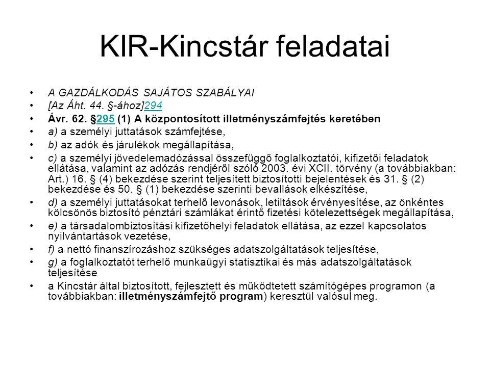 KIR-Kincstár feladatai A GAZDÁLKODÁS SAJÁTOS SZABÁLYAI [Az Áht.