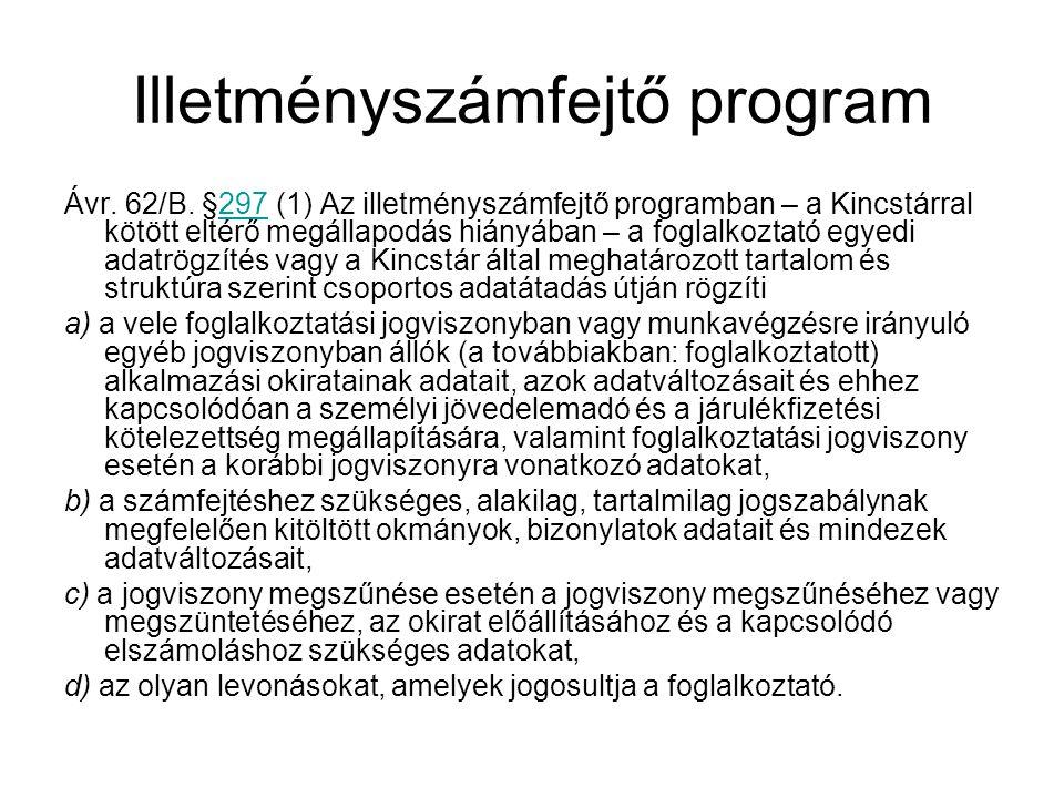 Illetményszámfejtő program Ávr.62/B.