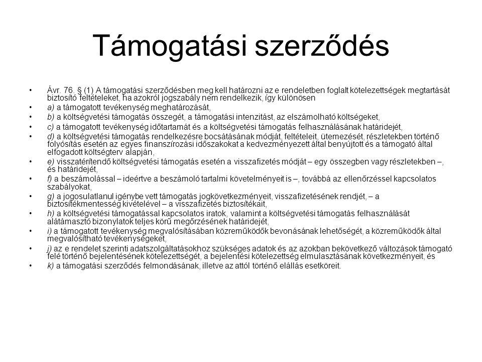 Támogatási szerződés Ávr.76.