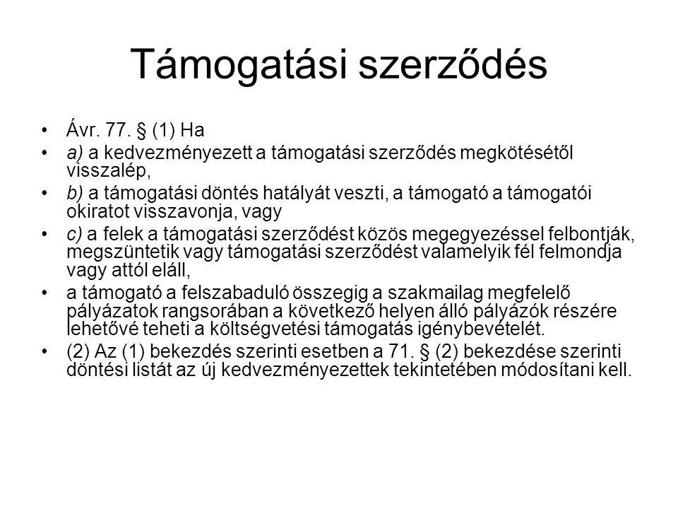 Támogatási szerződés Ávr.77.