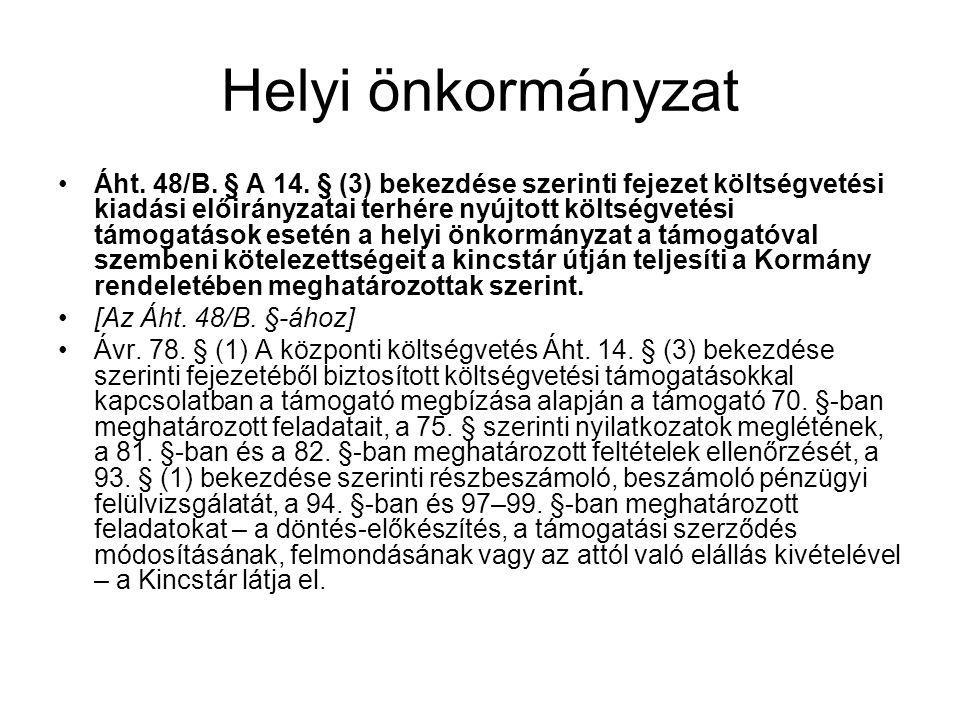 Helyi önkormányzat Áht.48/B. § A 14.