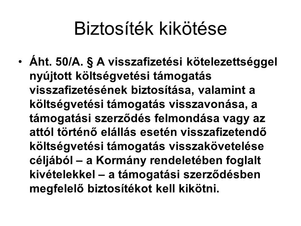 Biztosíték kikötése Áht.50/A.