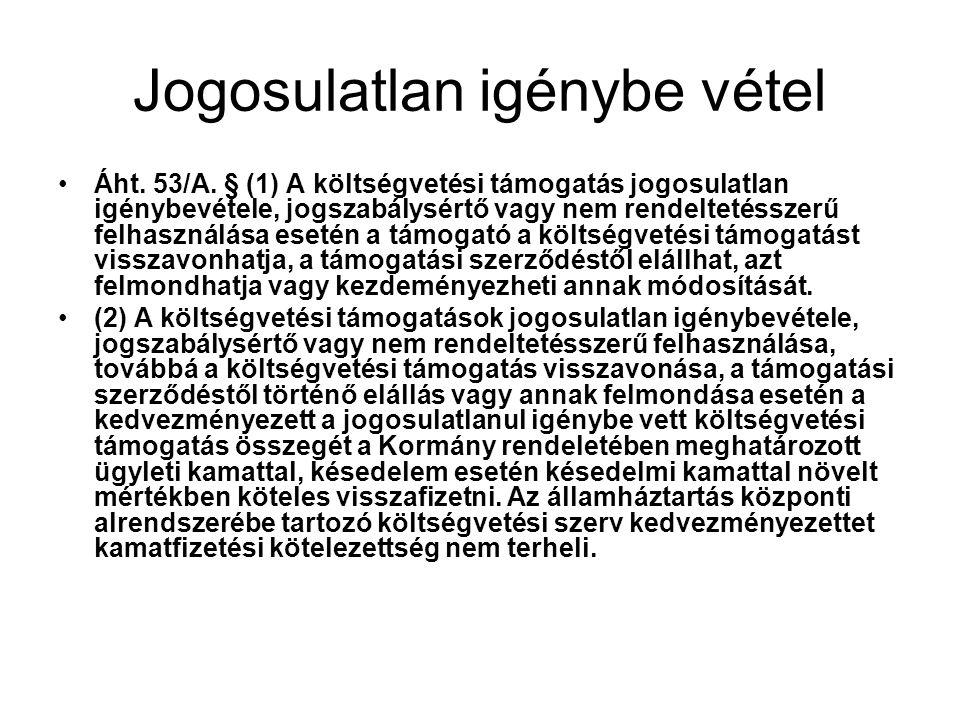 Jogosulatlan igénybe vétel Áht.53/A.