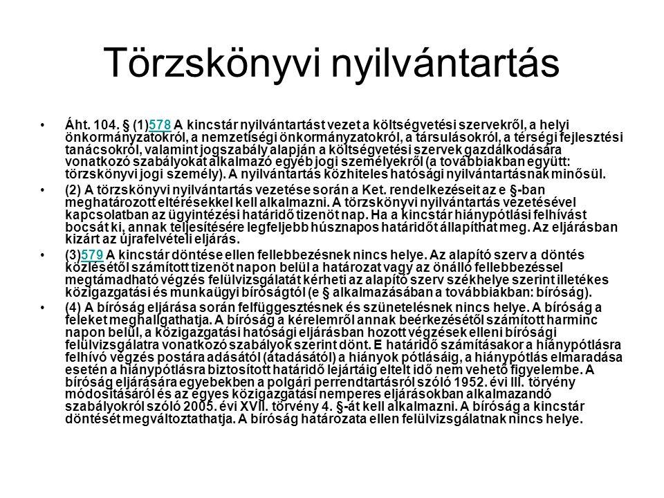 Törzskönyvi nyilvántartás Áht. 104. § (1)578 A kincstár nyilvántartást vezet a költségvetési szervekről, a helyi önkormányzatokról, a nemzetiségi önko