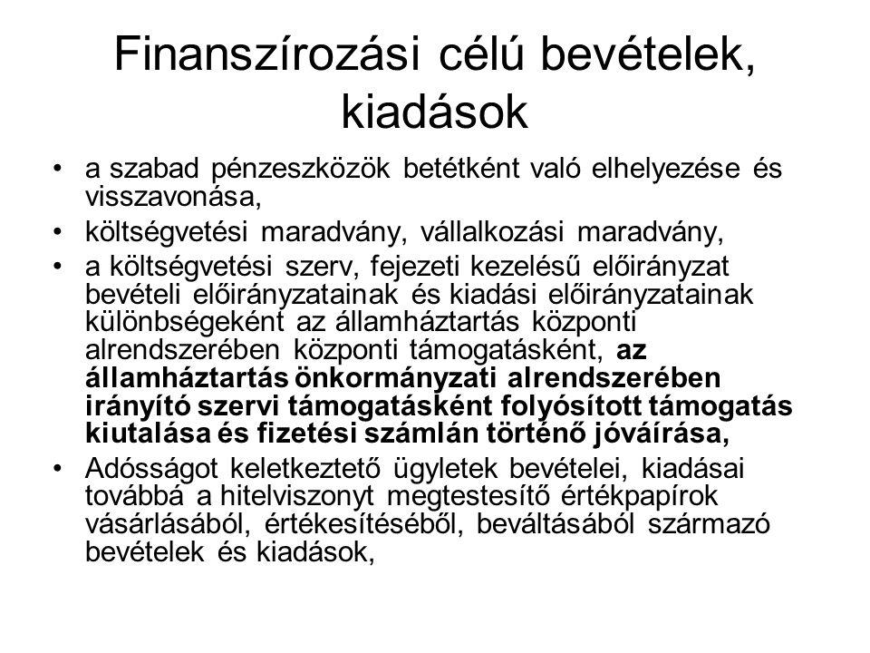 Finanszírozási célú bevételek, kiadások a szabad pénzeszközök betétként való elhelyezése és visszavonása, költségvetési maradvány, vállalkozási maradvány, a költségvetési szerv, fejezeti kezelésű előirányzat bevételi előirányzatainak és kiadási előirányzatainak különbségeként az államháztartás központi alrendszerében központi támogatásként, az államháztartás önkormányzati alrendszerében irányító szervi támogatásként folyósított támogatás kiutalása és fizetési számlán történő jóváírása, Adósságot keletkeztető ügyletek bevételei, kiadásai továbbá a hitelviszonyt megtestesítő értékpapírok vásárlásából, értékesítéséből, beváltásából származó bevételek és kiadások,