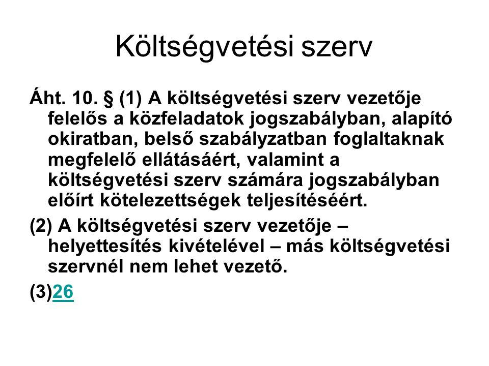 Költségvetési szerv Áht.10.