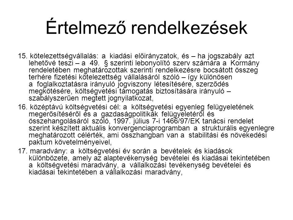 Közgazdasági tagolás Előirányzat-csoport : működési és felhalmozási bevételek, kiadások (tervezéskor bevételi, kiadási előirányzatok, teljesítéskor bevétel, kiadás) Előirányzat-csoporton belül kiemelt előirányzatok : költségvetési és finanszírozási Kiemelt előirányzatok további osztályozása a rovatrend szerint- rovatra