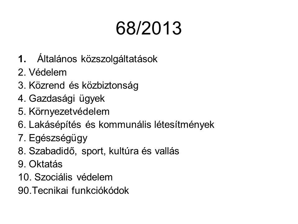 68/2013 1.Általános közszolgáltatások 2. Védelem 3.
