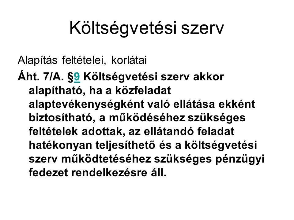 Költségvetési szerv Alapítás feltételei, korlátai Áht.