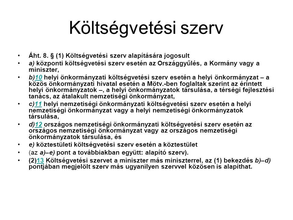 Költségvetési szerv Áht.8.