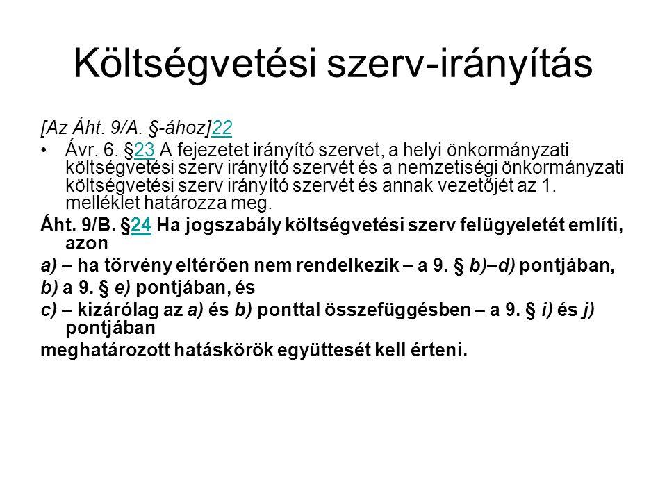 Költségvetési szerv-irányítás [Az Áht.9/A. §-ához]2222 Ávr.