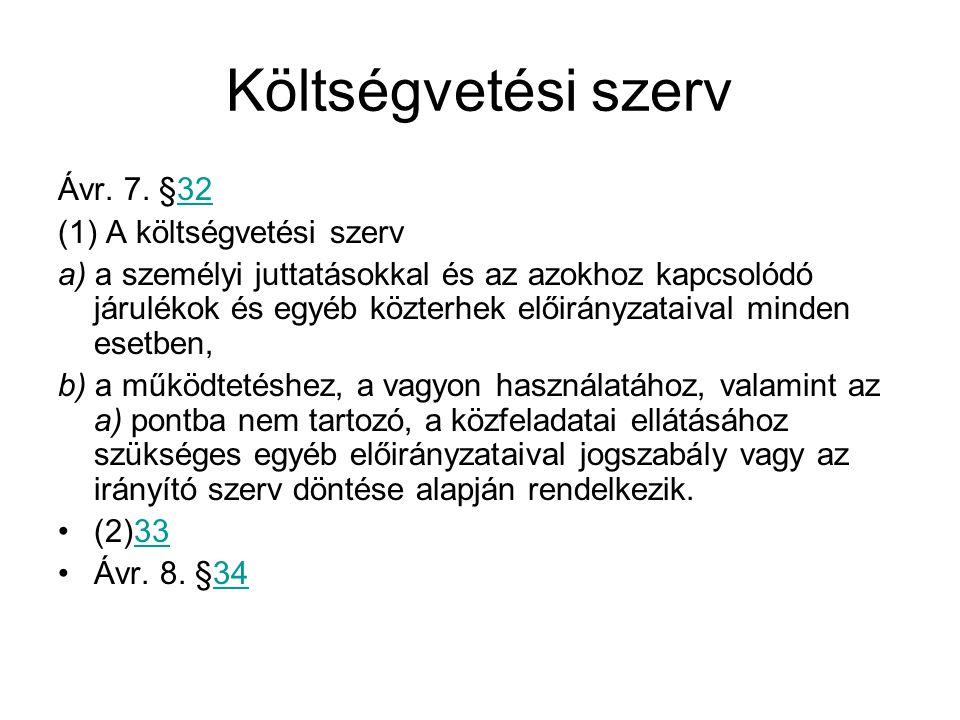 Költségvetési szerv Ávr.7.
