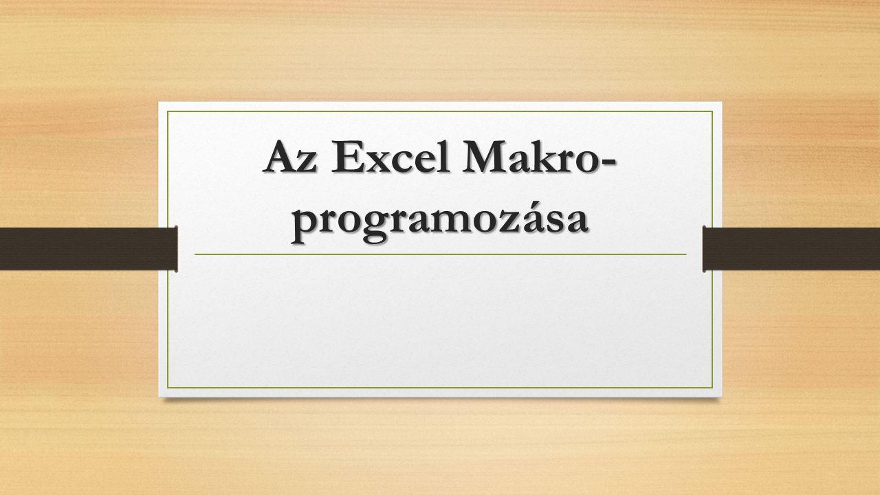 Többágú elágazások kezelése Select Case valasz Case 1: ActiveWorkbook.Sheets.Add Before:=Worksheets(Worksheets.Count) Case 2: ActiveWorkbook.Sheets.Add After:=Worksheets(Worksheets.Count) Case 3: darab = InputBox( Hány új munalapot adjak hozzá? , Hozzáaad , 5 ) ActiveWorkbook.Sheets.Add Count:=Val(darab) Case Else: MsgBox 1-3 közötti számot adjon meg! End Select 22