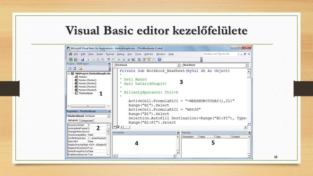 Visual Basic editor kezelőfelülete 18