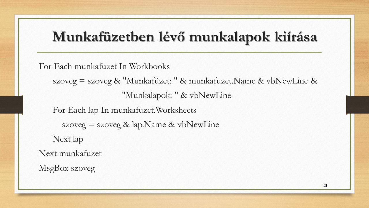 Munkafüzetben lévő munkalapok kiírása For Each munkafuzet In Workbooks szoveg = szoveg &