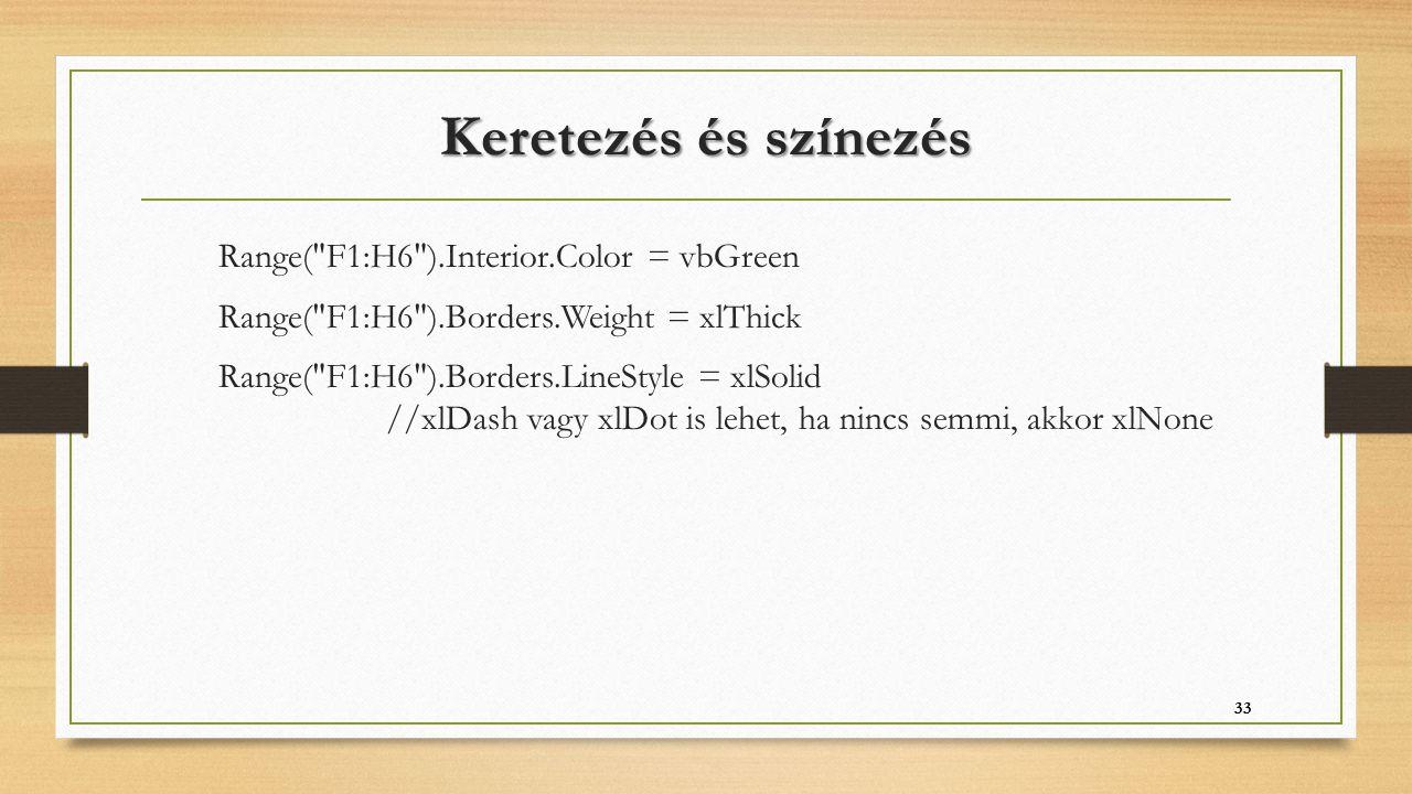 Keretezés és színezés Range(