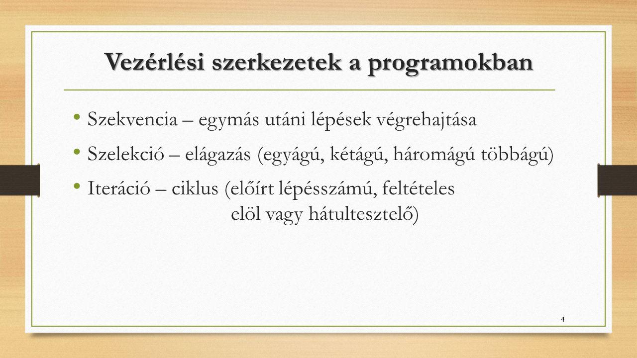Vezérlési szerkezetek a programokban Szekvencia – egymás utáni lépések végrehajtása Szelekció – elágazás (egyágú, kétágú, háromágú többágú) Iteráció –