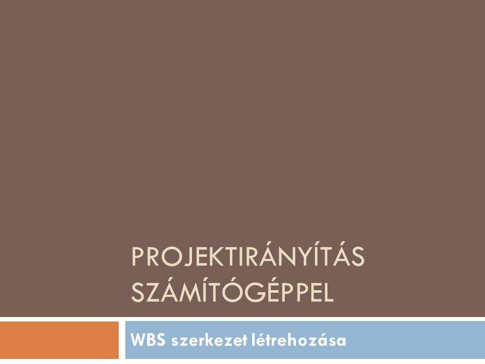 PROJEKTIRÁNYÍTÁS SZÁMÍTÓGÉPPEL WBS szerkezet létrehozása