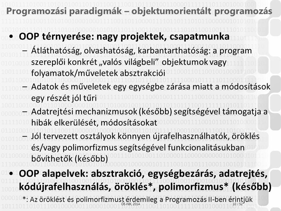 10 / 52 ÓE-NIK, 2014 Programozási paradigmák – objektumorientált programozás OOP térnyerése: nagy projektek, csapatmunka –Átláthatóság, olvashatóság,