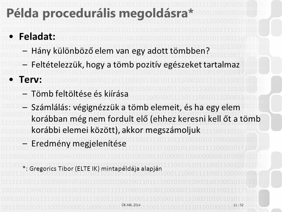11 / 52 ÓE-NIK, 2014 Példa procedurális megoldásra* Feladat: –Hány különböző elem van egy adott tömbben? –Feltételezzük, hogy a tömb pozitív egészeket