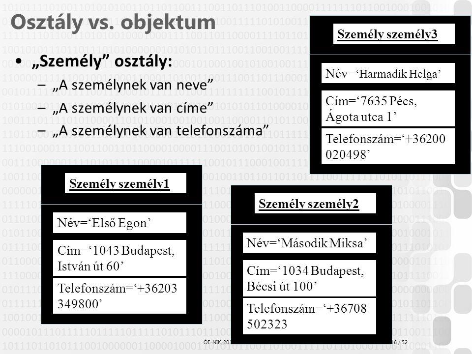 """16 / 52 ÓE-NIK, 2014 Osztály vs. objektum """"Személy"""" osztály: –""""A személynek van neve"""" –""""A személynek van címe"""" –""""A személynek van telefonszáma"""" Név='E"""