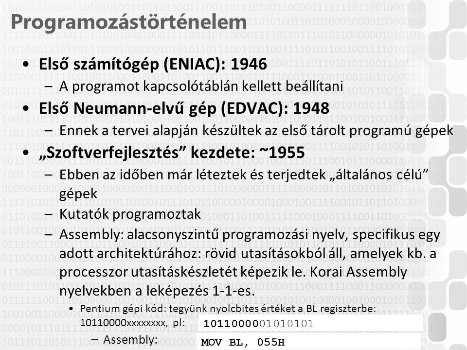 2 / 52 ÓE-NIK, 2014 Programozástörténelem Első számítógép (ENIAC): 1946 –A programot kapcsolótáblán kellett beállítani Első Neumann-elvű gép (EDVAC):