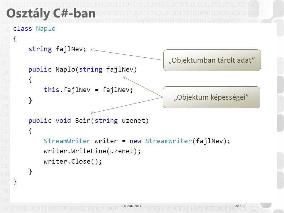 20 / 52 ÓE-NIK, 2014 Osztály C#-ban class Naplo { string fajlNev; public Naplo(string fajlNev) { this.fajlNev = fajlNev; } public void Beir(string uze