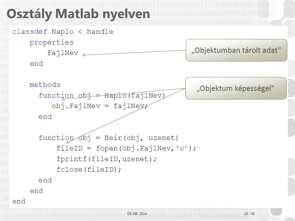 22 / 52 ÓE-NIK, 2014 Osztály Matlab nyelven classdef Naplo < handle properties FajlNev end methods function obj = Naplo(fajlNev) obj.FajlNev = fajlNev