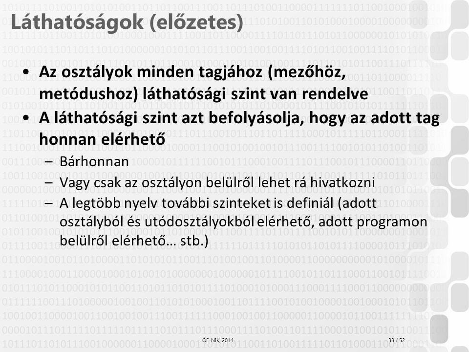 33 / 52 ÓE-NIK, 2014 Láthatóságok (előzetes) Az osztályok minden tagjához (mezőhöz, metódushoz) láthatósági szint van rendelve A láthatósági szint azt